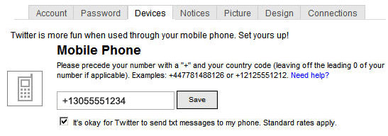 Enable SMS for Your Twitter Direct Messages, Updates for Selected